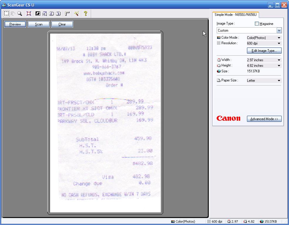 Image of ScanGear screen